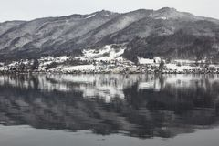 Hallstatt lake in Winter Stock Images
