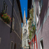 Hallstatt Lutheran Church from Wolfengasse Royalty Free Stock Photography
