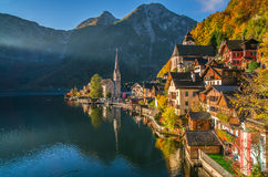 Hallstatt mountain village in morning light in fall, Salzkammergut, Austria Stock Image