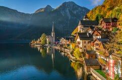 Hallstatt mountain village in morning light in fall, Salzkammergut, Austria Stock Image