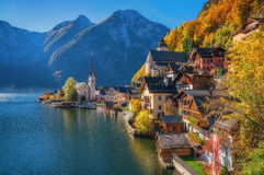 Hallstatt mountain village in morning light in fall, Salzkammergut, Austria Royalty Free Stock Photos