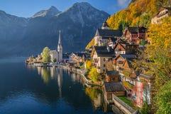Hallstatt mountain village in morning light in fall, Salzkammergut, Austria Stock Images