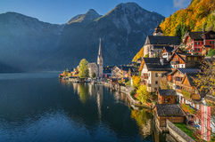 Hallstatt mountain village in morning light in fall, Salzkammergut, Austria Stock Photo