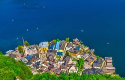 Hallstatt old town panoramic view Austria Royalty Free Stock Image