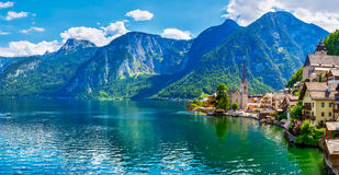Hallstatt old town panoramic view Austria Stock Photos