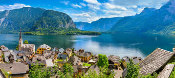 Hallstatt old town panoramic view Austria Stock Photo