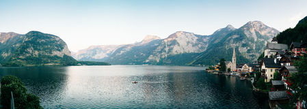 Hallstatt in panorama Royalty Free Stock Images