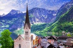 Hallstatt - piękna czarodziejska wioska na jeziorze w Austria Obrazy Stock