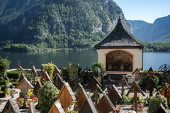 HALLSTATT SALZKAMMERGUT/AUSTRIA - SEPTEMBER 14: Väl hållna Gra Royaltyfri Bild