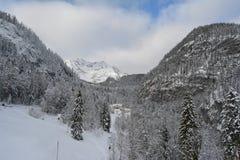 Hallstatt Sky Walk, Austria. Winter view. stock photo