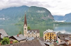 Fairytale village Hallstatt in Austria. Hallstatt is a small Austrian municipality at Hallstätter See in the state of Upper Austria. Main industries are salt stock images