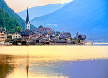 Hallstatt on sunrise. Hallstatt in Austria, UNESCO world culture heritage site, on sunrise royalty free stock photography