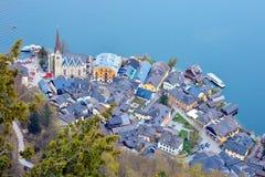 Hallstatt from the top. Top view of Hallstatt village, Austria Stock Photography