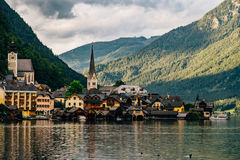 Hallstatt town cityscape by cloudy summer evening, Salzkammergut Stock Photos