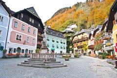 Hallstatt town square in Autumn. Austria stock images