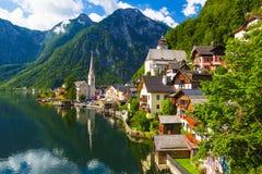 Hallstatt town in summer, Alps, Austria Stock Images