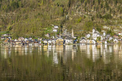 Hallstatt town with traditional wooden houses Stock Photos