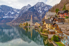 Hallstatt town with traditional wooden houses, Austria, Europe Royalty Free Stock Images