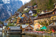 Hallstatt town with traditional wooden houses, Austria, Europe Stock Photo