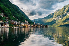 Hallstatt town view by cloudy summer evening, Salzkammergut Royalty Free Stock Photo