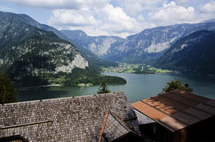 Hallstatt view from the top of the mountain above the roof Royalty Free Stock Images