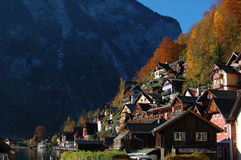 Hallstatt. View of the Hallstatt typical Buildings Stock Photography