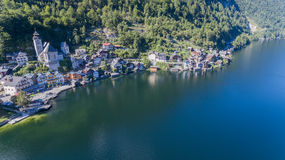 Hallstatt village in Alps, Austria, Aerial view of Royalty Free Stock Image