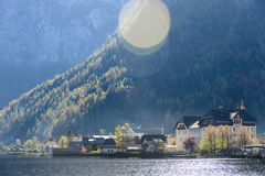Hallstatt village in Alps at cloudy day Stock Image