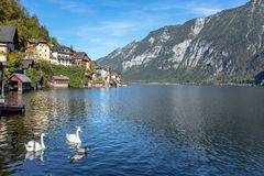 Hallstatt village in Alps at cloudy day Stock Photo