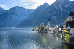 Hallstatt village in Alps at cloudy day Royalty Free Stock Photos