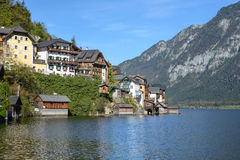 Hallstatt village in Alps at cloudy day Royalty Free Stock Photography