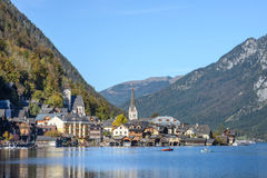 Hallstatt village in Alps at cloudy day Royalty Free Stock Images