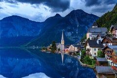 Hallstatt village in Alps at dusk. Austria Stock Photo