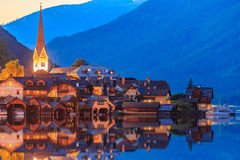 Hallstatt village in Alps at dusk, night scene Royalty Free Stock Images