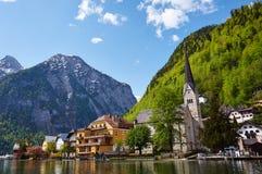Hallstatt. Village in Austria shot from lake Stock Photos
