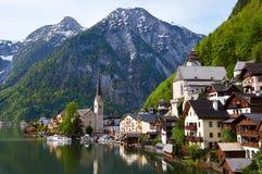 Hallstatt. Village in Austria shot from lake Royalty Free Stock Photography