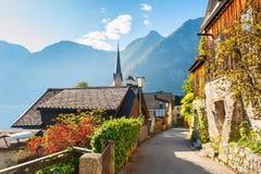 Hallstatt village in Austrian Alps. Beautiful street in Hallstatt village in Austrian Alps Royalty Free Stock Photo