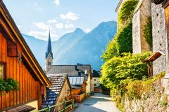 Hallstatt village in Austrian Alps. Beautiful street in Hallstatt village, Austrian Alps Stock Photos