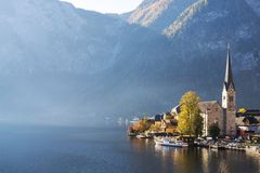 Hallstatt village with beautiful lake and mountain in Alps. Austria view landscape Royalty Free Stock Images