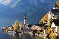 Hallstatt village with beautiful lake and mountain in Alps. Austria view landscape Royalty Free Stock Photography