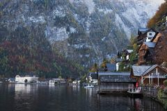 Hallstatt village with beautiful lake and mountain in Alps. Austria view landscape Stock Photo