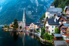 Hallstatt village at dusk Royalty Free Stock Image