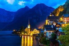 Hallstatt village at dusk Royalty Free Stock Photos