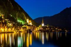 Hallstatt village at dusk Royalty Free Stock Image