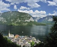 Hallstatt Village & Hallstatt Lake Stock Photos