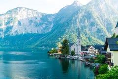 Hallstatt village on Hallstatter lake in Austrian Alps royalty free stock photography