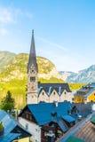 Hallstatt village on Hallstatter lake in Austrian Alps royalty free stock photos