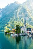 Hallstatt village on Hallstatter lake in Austrian Alps stock image