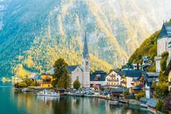 Hallstatt village on Hallstatter lake in Austrian Alps stock photo