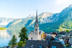 Hallstatt village on Hallstatter lake in Austrian Alps royalty free stock image